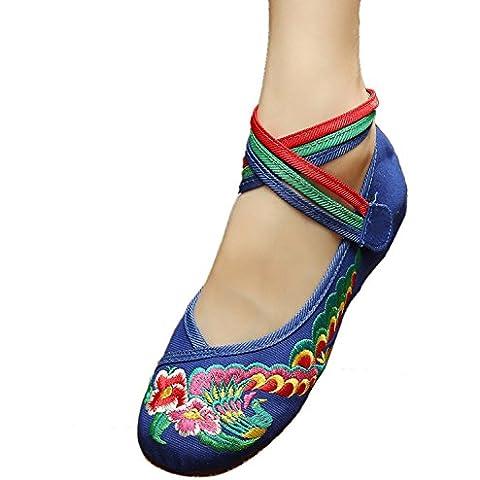 Icegrey Bordado Hecho A Mano Crossover Tobillo Zapatos Planos Para Las Mujeres