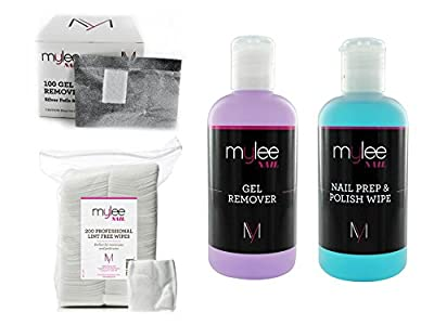 Mylee Prep & Wipe With Remover & Nail Wipes Wraps Kit Package Nail Gel Polish Soak Off NEW