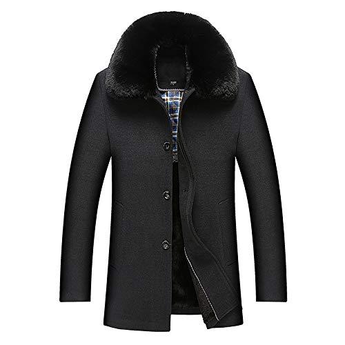 Herren Winter Schwarz Wollmantel Mit Warmen Gefütterten Und Abnehmbaren Pelzkragen Business Casual Mantel Jacke PEA Coats Windbreaker,Black-XL