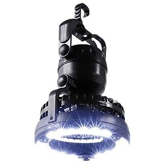 RUNACC Camping Lampe mit Fan Camping Fan mit Haken Zum Aufhängen Outdoor Zelt Licht, 18LED Perfekt für Camping und Reisen, batteriebetrieben