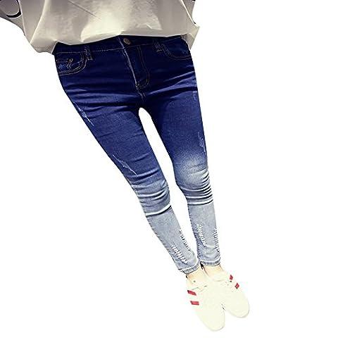 Damen Hight Waist Jeans Hose Röhrenjeans Mit Riss Knie Destroyed