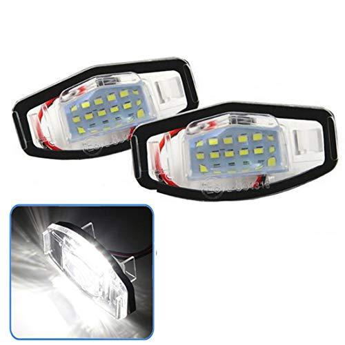 VIGORFLYRUN PARTS LTD 2PCS Auto 18 LED Kennzeichenbeleuchtung Nummernschilder Licht für Jazz Fit C-ivic Pilot A-ccord O-dyssey A-cura MDX RL TL TSX RDX, Xenon Kennzeichen Leuchte Beleuchtung (Licht Honda Accord)