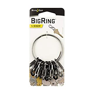 Nite Ize Bigring Stahl 8 S-Biner 0.5, Schwarz/Silber, NI-BRG-M1-R3