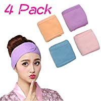 Women Fashion Lovely Soft Makeup Cosmetic Shower Elastic Hair Band,Bath Head Band 4 Pack (Purple, Blue, Pink, Yellow)