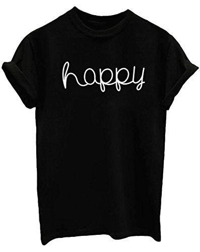 Yeesea donne casuale estate maniche corte camicetta girocollo ragazze bluse camicie cotone stampe t-shirt nero xx-large
