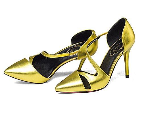 Beauqueen Casual pompa i pattini del partito del lavoro di estate donne S-Strap tacco basso Argento Oro Semplice annata Europa Dimensione 33-39 Gold