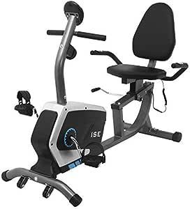 ISE Cyclette Orizzontale Magnetico con Sella Regolabile,Recumbent Ergometro Ideale per Allenamento di Recupero,Sensori di Pulsazione Integrati,Regolabile Resistenza,Max.120 kg,Supersilenzioso,SY-6801
