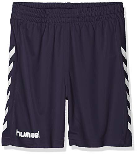 hummel Jungen Sporthose kurz-CORE Poly Shorts-Trainingshose Herren hohe Bewegungsfreiheit-Laufshorts atmungsaktiv in Schwarz-Funktionshose, Marine Pr, 116-128 (Marine-blau-team-logo-shorts)