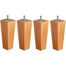 Cuatro patas de madera cónicas (160 mm) de muebles en color Natural con fijaciones