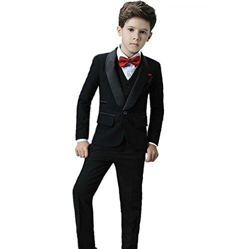 Icegrey Jungen Anzug 5 Stück Smoking Festlicher Anzug für Kommunion Fest Taufe Hochzeit 140 Schwarz Jahren 9 (Flacher Front, Voll Gefüttert Anzug)