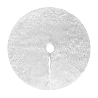 Deggodech Falda de Felpa del árbol de Navidad Blanco Plush Christmas Tree Skirt con Copos de Nieve Plata Felpa Base de Árbol de Navidad para Decoración de Fiesta Navideña de Año Nuevo, 35.4inch/90cm