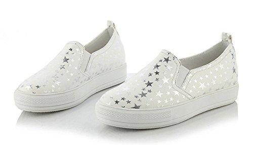 Aisun Femme Mode Etoile Plateforme à Enfiler Loafers Baskets Blanc