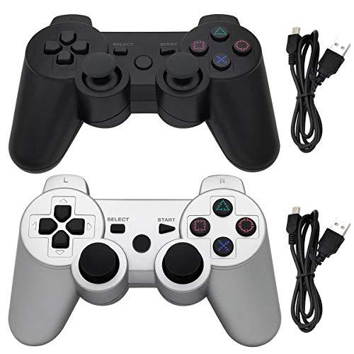 Ceozon PS3 Controlador inalámbrico Playstation 3 Dualshock 3 Controlador Sixaxis Dualshock Bluetooth Gamepad para Playstation 3 Remote Joystick con Cables de Carga, 2 Unidades, Negro + Plateado