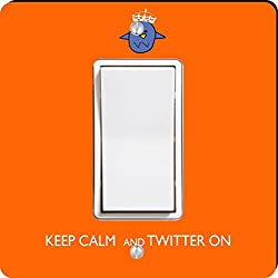 Rikki Knight Keep Calm and Twitter On Single Rocker Light Switch Plate, Orange