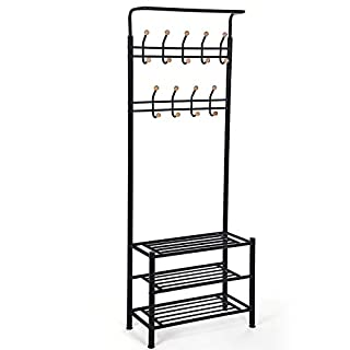 SONGMICS Height 187 cm Metal Hall Tree Entryway Organizer Multi-purpose Clothes Coat Stand Shoes Rack Hat Umbrella Bag Stand Black HSR04B