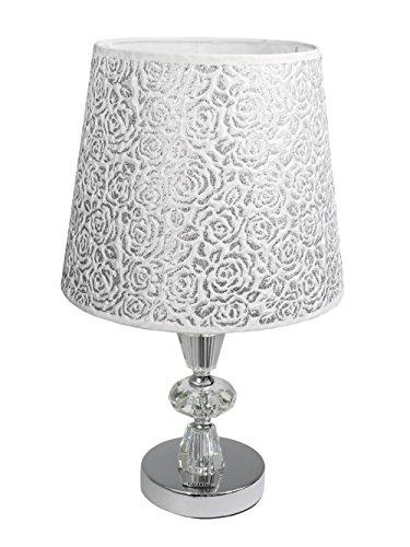 Vetrineinrete® Lume moderno da comodino abat jour lampada da tavolo in acciaio cromato e paralume decorato glitter argento D19-A X