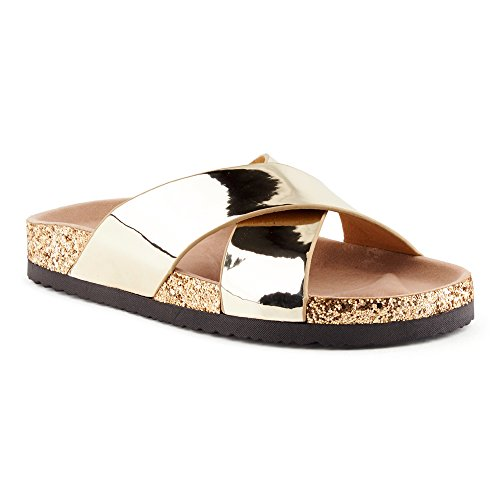 Fusskleidung Damen Sandalen Lack Glitzer Komfort Sandaletten Metallic Schlappen Zehentrenner Hausschuhe Pantoletten Köln-Gold EU 39