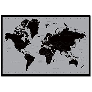World map poster contemporary black grey style cork pin memo world map poster contemporary black grey style cork pin memo board black framed 965 gumiabroncs Image collections