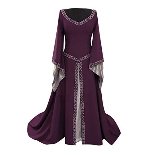 Huacat Damen mittelalterlichen Vintage Mosaik Muster Stil einfarbig Flare Ärmel Prinzessin Kleid Renaissance Halloween Kostüm (Kostüm Oder Historische Muster)