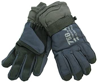 GIZZY® Boys thermal Ski Gloves with Gripper Palms (5-6 Years, Navy Blue and Grey)