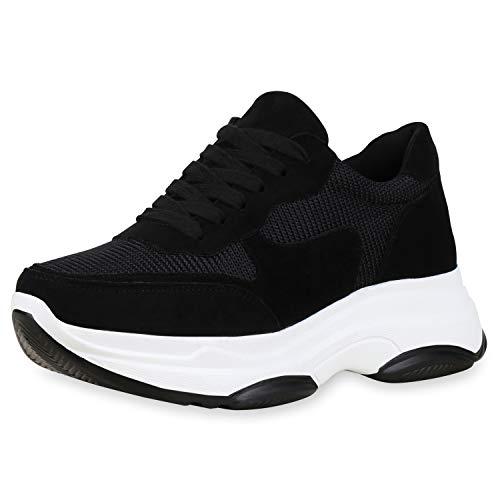 SCARPE VITA Damen Plateau Sneaker Chunky Turnschuhe Schnürer Freizeit Schuhe Plateauschuhe 181247 Schwarz 40