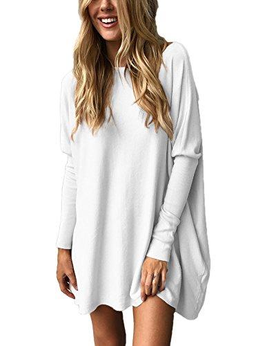 Minetom Damen Lose Bluse Fledermaus Langarm Pullover Normallacks Shirt Casual Oberteil Übergröße Weiß DE 36 (Leggings Lange Pullover)