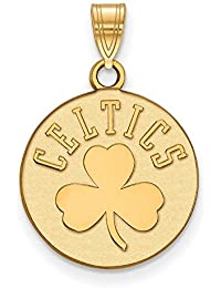 Lex & Lu LogoArt - Colgante de plata de ley chapado en oro NBA Boston Celtics, tamaño mediano LAL158325
