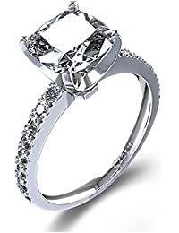 RM Jewellers CZ 92.5 Sterling Silver American Diamond Princess Ring For Women