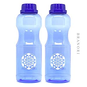2x Trinkflasche 0,75l BPA-frei (Schadstofffrei) aus TRITAN, auslaufsicher und spülmaschinenfest   GESUND TRINKEN   Das perfekte Set für den Sport, passend für gängige Getränkehalter z.B. am Fahrrad   Qualität made in Germany   Deckel mit Schraufverschluss, 0,75 liter Wasserflasche weichmacherfrei   Trinkflaschen im Blume des Lebens - Design   Spezielle blau-Färbung weist UV-Strahlung ab