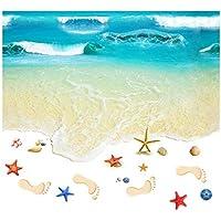 Patrón de playa Pisos 3D Etiqueta de la pared Dormitorio Cocina Baños Piso Pintura autoadhesivo Extraíble antideslizante Papel tapiz - Multicolor
