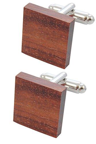 COLLAR AND CUFFS LONDON - HOCHWERTIGE Manschettenknöpfe mit GESCHENK BOX - Klassische Holzfliese - Stilvolle Messing - Braune Farbe - Holz - Quadratisch - Tischler Zimmermann DIY (Designer-anzug Braune)