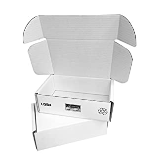 White Cardboard Postal Boxes - 225x150x75mm (9x6x3ins). Pack of 25. Royal Mail Small Parcel Size. Strong Flatpacked Mailing Boxes with Triple Thick Sides & Self-Lock Tuck-In Flaps. Versatile Plain Flat Postage Box. Fast Delivery & Easy to Assemble