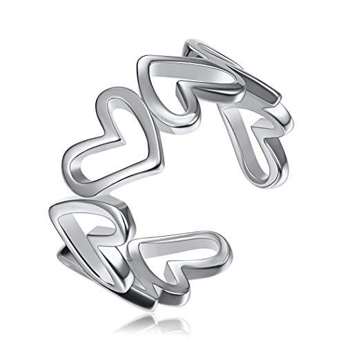 925 Sterling Silber Ring Verlobung Herz zu Herz Ring für Damen, Ringe Vergoldet Unendlichkeit Partnerringe Geschenk ...