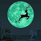 Doublelift Home Decor Weihnachtsdekoration Wandaufkleber Wohnzimmer Badezimmer Küche Weihnachten 3D Luminous Moon Deer Wandaufkleber für Kinderzimmer leuchten im dunklen Bett
