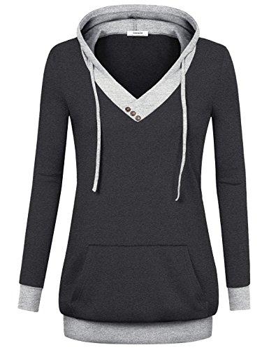 Sweatshirt Hoodie Damen,Youtalia Damen Long Neckischer Pullover Leicht Vintage mit Einschub-Tasche Hoodie-Tunika Sweater (Größe XL,Karbon Schwarz)