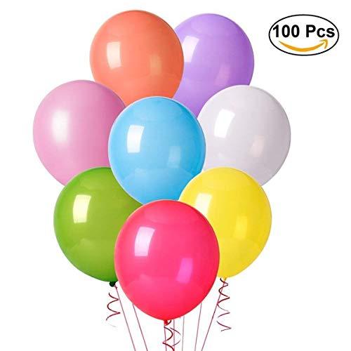 Herefun 100 pz palloncini colorati per party, compleanni, matrimoni, decorazione - 30 cm palloncini in lattice (10 colori)