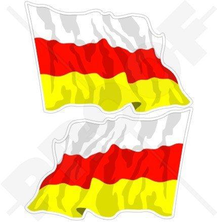Südossetien ossetische Waving Flag 7,6cm (75mm) Bumper Sticker, Aufkleber Vinyl X2