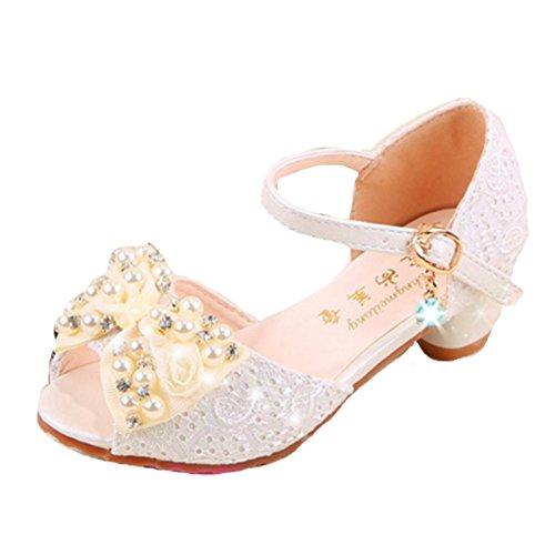 OPSUN Sandales à bride Enfants Filles Chaussure Babies Cérémonie Fête Demoiselle d'honneur Mariage Escarpin plat Babies Blanc