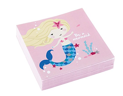 Amscan 9903076 Servietten Be a Mermaid, Mehrfarbig, 25 x 25 cm