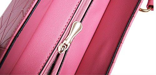 DHFUD Damen Umhängetasche Crossbody Handtasche Geprägte Lingge Vier Paare winered