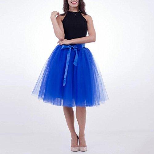 Femmes Tutu Ballet Jupe, 25,6 pouces en couches Organza dentelle Bubble Puffy une ligne courte et Maxi longueur Tulle princesse Petticoat pour la robe de bal de bal Saphir