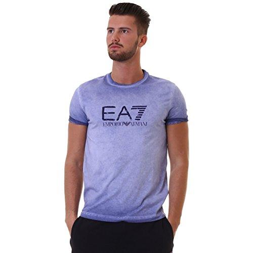 Emporio Armani EA7Herren T Shirt Kurzarm Rundhals Blau, blau, Large
