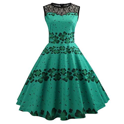 Manadlian Damen Kleid Grün Halloween Retro Lace Vintage Kleid Eine Linie Kürbis Schaukel Kleid Frauen Sommerkleid Reißverschluss Weinlese-Druck Blume Große Schaukel Midi-Kleid