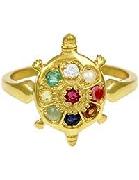 Exxotic Jewelz Designer 0.75CT Sterling Silver Gold Plated Tortoise Genuine Navaratna Stone Adjustable Ring Women|Men|Boys|Girls
