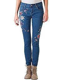 KRISP® Femmes Jeans Skinny Fleurs Brodées Denim Casual Trendy