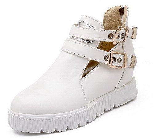 VogueZone009 Damen Blend-Materialien Reißverschluss Rund Zehe Mittler Absatz Pumps Schuhe Weiß