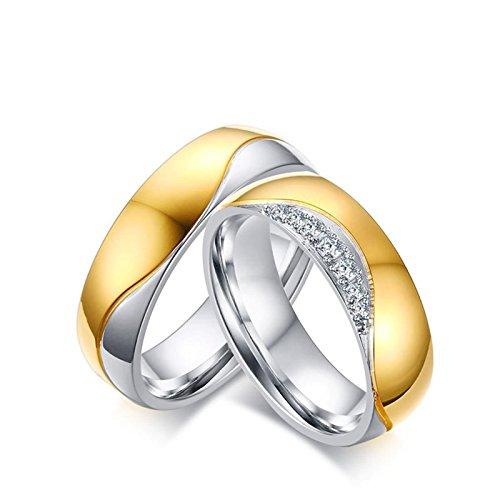 Beydodo anelli san valentino per lui e lei anello coppia acciaio inossidabile anello zirconi bianco donna misura 20 & uomo misura 27