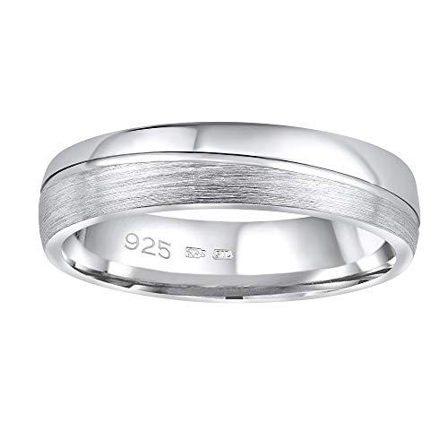 SILVEGO Damen und Herren Ehering aus 925 Sterling Silber PRESLEY