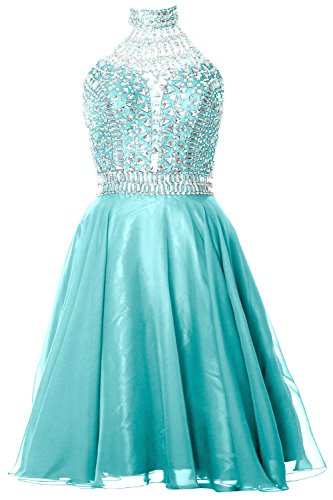 MACloth Gorgeous Halter Prom Homecoming Dress High Neck Cocktail Formal Gown Turquoise