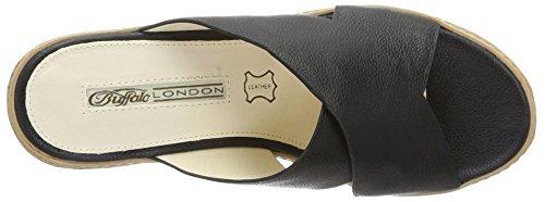 Buffalo London 315-6314 Cow Leather, Sandali con Zeppa Donna Nero (BLACK 01)